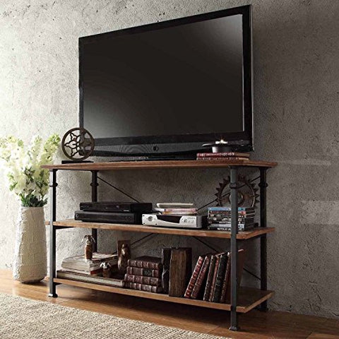 Modern Industrial Light Brown Rustic Wood and Metal TV Stand - for Televisions up to 48 inches