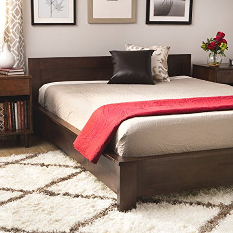 Modern Transitional Wood King Platform Bed in Deep Brown Finish