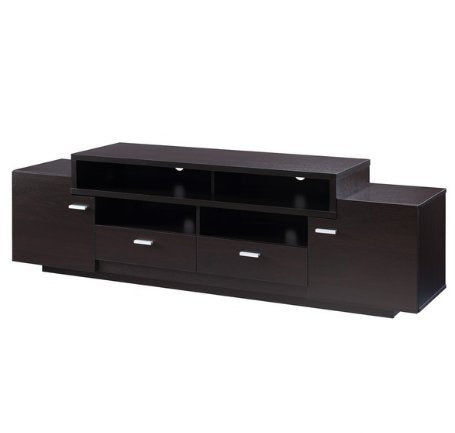Modern Transitional Wood 72 Inch Media Cabinet TV Stand with 2 Large Cabinets 2 Lower Drawers and 2 Shelves (Brown)