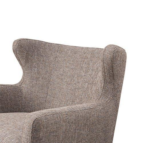 Contemporary Gray Brown Upholstered Wingback Accent Armchair with Wood Legs