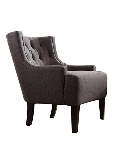Diamond Tufted Dark Gray Linen Upholstered Low Wingback Accent Chair with Espresso Wood Legs