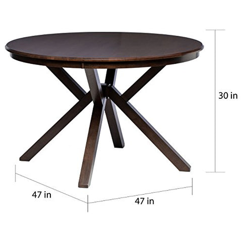 Mid Century Wood Round Dining Table with Geometric Base with Four Legs in Espresso Finish