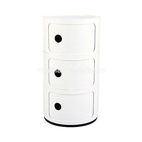 Retro Modern Ferrieri Style 3 Tier Componibili White Storage Cabinet End Table