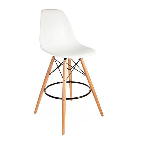 Mid Century Modern Eames DSW Style White Counter Stool with Dowel Wood Base HIGH QUALITY Satin Finish