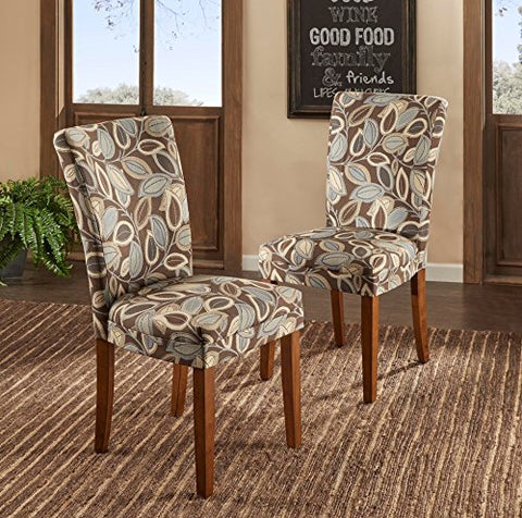 Modern Leaf Print Fabric Parsons Style Dining Side Chairs | Wooden Brown Legs - Set of 2