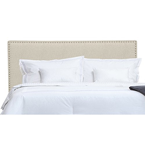 Modern Light Beige Tan Upholstered Padded Queen Headboard with Metal Nailheads