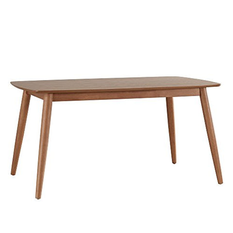 Mid Century Modern Wood Dining Table with Beveled Edges and Tapered Angled Legs (63 inch, Natural Oak Finish)