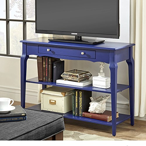 Modern Wood TV Stand Accent Console Sofa Table with 1 Drawer and 2 Open Shelves (Navy Blue)