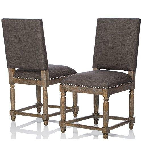 Modern Rustic High Back Reclaimed Wood Finish Accent Dining Chairs with Gray Upholstery  (Set of 2)