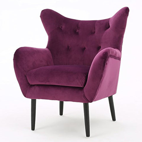 Mid Century Modern Velvet Upholstery Button Tufted Accent Arm Chair with Solid Wood Legs  (Fuchsia)