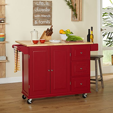 Modern Transitional Drop Leaf Kitchen Cart with Utility Drawers 2 Storage  Cabinet and Towel Holder (Red)