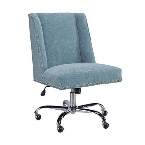 Contemporary Pine Wood Upholstered Rounded Seat Office Task Chair with Nailheads Trim, Chrome Base and 5 Castor Wheels