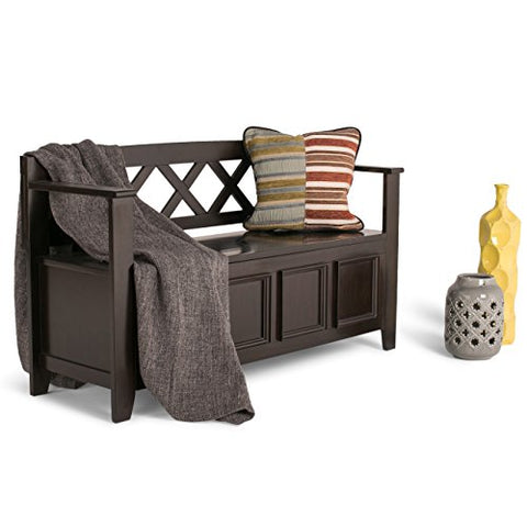 Rustic Modern Pine Wood Enrtryway Storage Bench with Square Front Panel and Crisscross Back  (Dark Brown)