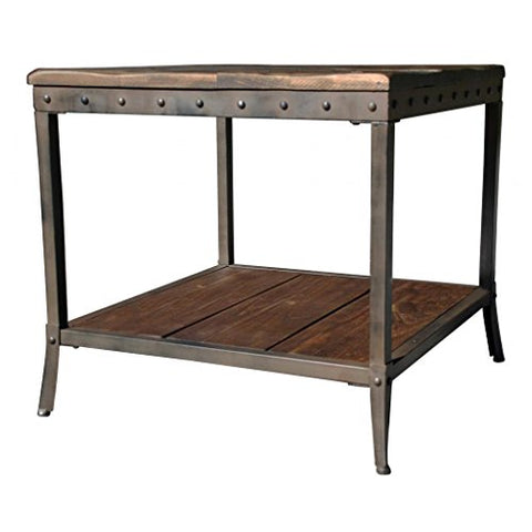 Rustic Distressed Pine Metal Accent End Table with Bottom Shelf and Nailhead Trim