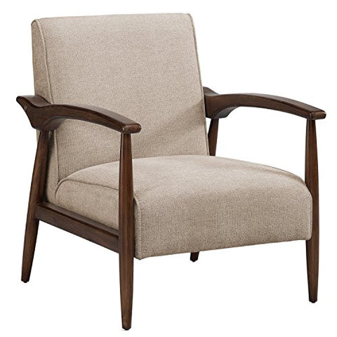 Enjoyable Mid Century Retro Accent Chair Beige Upholstery Walnut Finish Wood Frame And Legs Ncnpc Chair Design For Home Ncnpcorg