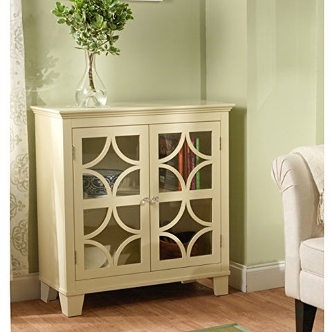 Modern Wood Storage Cabinet with Scroll Design Over Tempered Glass Doors and 1 Adjustable Shelves in Ivory Finish