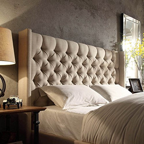 Modern Linen Upholstered Button Tufted Wingback King Headboard (Beige Linen)