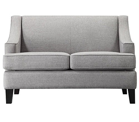 Modern Gray Linen Fabric Swoop Arm Loveseat Sofa