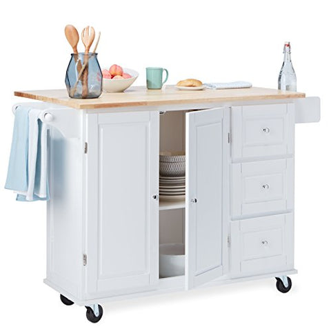 Modern Transitional Drop Leaf Kitchen Cart with Utility Drawers 2 Storage  Cabinet and Towel Holder (White)