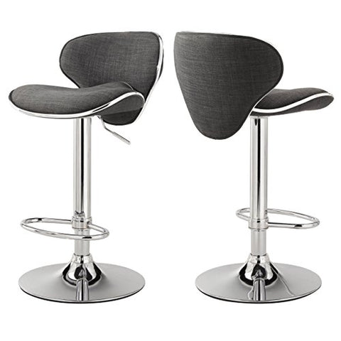 Admirable Modern Swivel Adjustable Height Counter Bar Stools Curved Back With Linen Fabric Seat Chrome Pedestal Base Black Finish Set Of 2 Dark Gray Theyellowbook Wood Chair Design Ideas Theyellowbookinfo