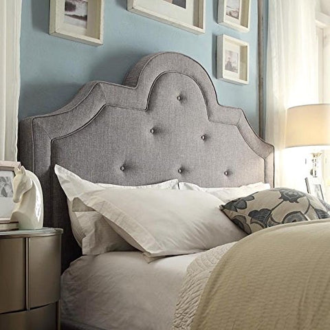 ModHaus Classic High Arch Button Tufted Gray Upholstered Queen Headboard