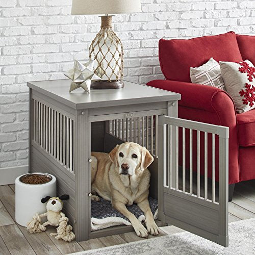 Contemporary End Table Pet Crate and Kennel with Stainless Steel Spindles (Medium, Gray)