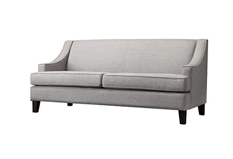 Modern Gray Linen Fabric Swoop Arm Sofa