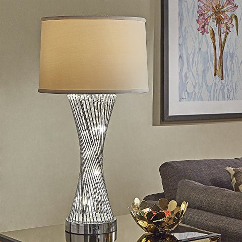 Modern Caged Table Lamp in Chrome Finish with Cream Shade