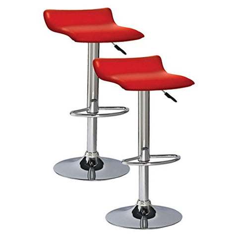 Admirable Modern Swivel Adjustable Height Backless Counter Bar Stools With Faux Leather Seat Chrome Finish Pedestal Base Set Of 2 Red Pabps2019 Chair Design Images Pabps2019Com