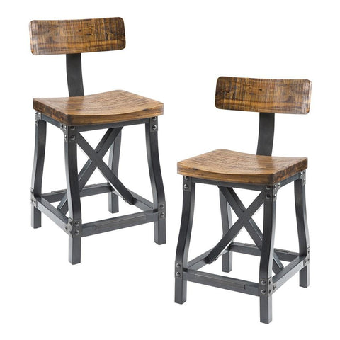 Industrial Rustic Acacia Wood And Metal Dining Chairs With Back