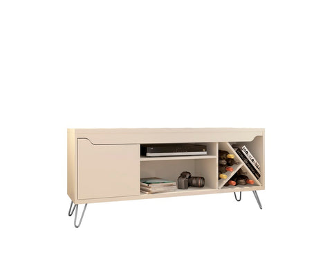 Modern TV Stand with Wine Rack and  Splayed Metal Legs in Off White