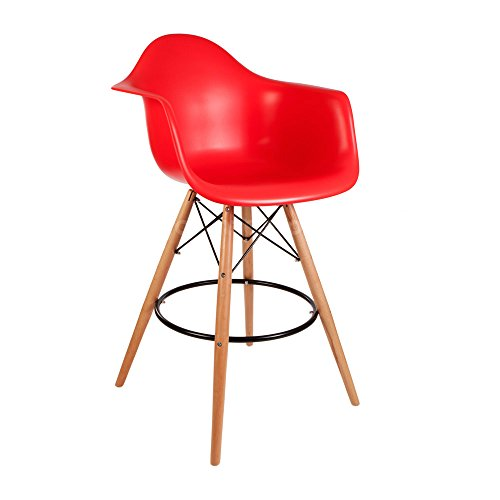 ModHaus Mid Century Modern Eames DAW Style Red Counter Stool Chair with Dowel Wood Base HIGH QUALITY Satin Finish