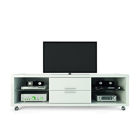 Modern Italian Style White High Gloss TV Stand - for 75 inch Televisions