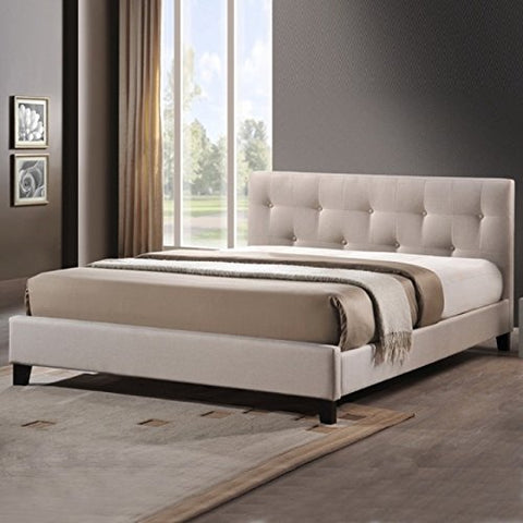 Modern Button Tufted Upholstered Padded Square Queen Low Headboard and Platform Bed in Light Beige