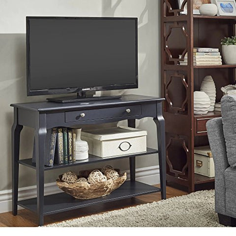 Modern Wood TV Stand Accent Console Sofa Table with 1 Drawer and 2 Open Shelves  (Charcoal Black)