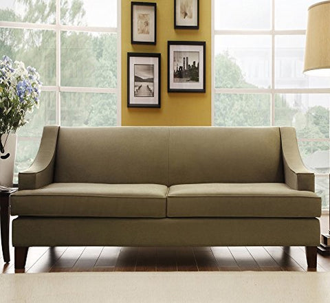 Stupendous Modern Tan Linen Fabric Upholstery Dark Wood Legs Swoop Arms Sofa Download Free Architecture Designs Scobabritishbridgeorg