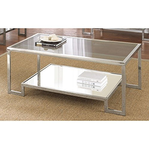 Modern Tempered Smoke Glass Coffee Table with Mirror Chrome Metal Base