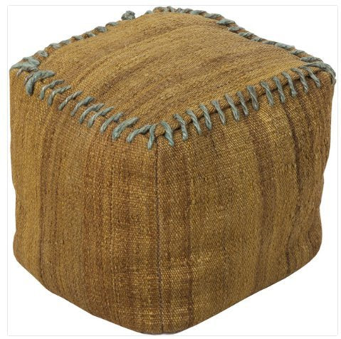 Contemporary 18 Inch Square Pouf  (Gold)
