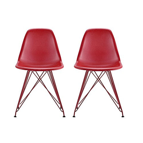 Awesome Mid Century Modern Molded Eames Style All Red Accent Dining Chair With Metal Legs Set Of 2 Pabps2019 Chair Design Images Pabps2019Com