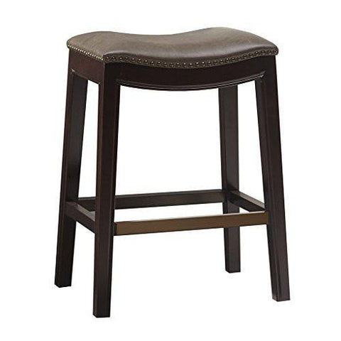 Super Mid Century Modern Upholstered Backless Saddle Counter Stool With Nailheads Accent And Solid Wood Legs Brown Caraccident5 Cool Chair Designs And Ideas Caraccident5Info