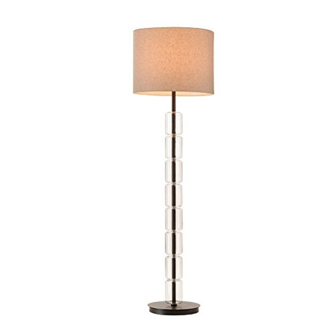 Contemporary Glass and Bronze Floor Lamp with Drum Linen Shade