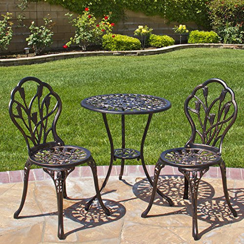 Best Choice Products Outdoor Patio Furniture Tulip Design Cast Aluminum Bistro Set