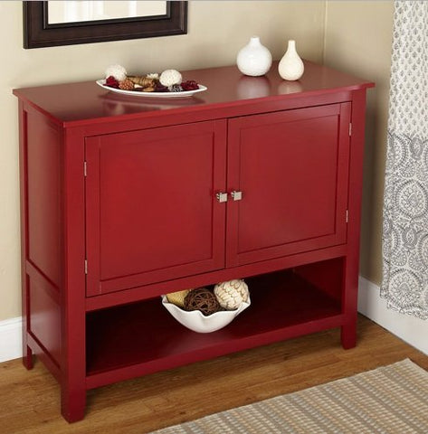 Buffet Deep Red Montego Sideboard for Your Dining Area or Kitchen Two Doors with Open Shelf Below