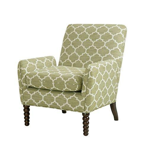 Contemporary Green Moroccan Print Upholstered Accent Armchair with Front Wood Spindle Legs
