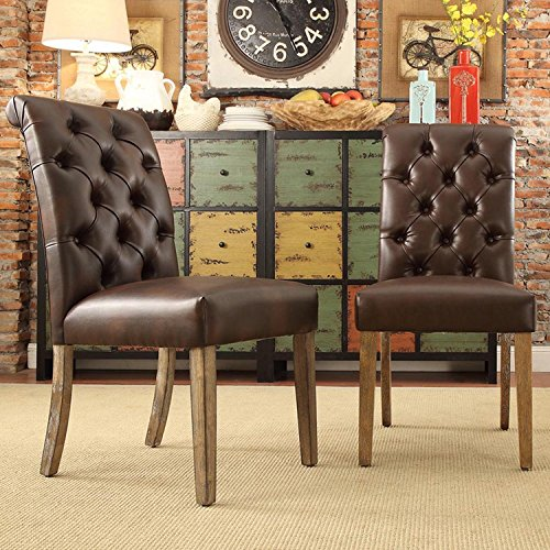 Modern Brown Bonded Leather Button Tufted Parsons Style Dining Chairs | Wood Finish Wooden Legs - Set of 2