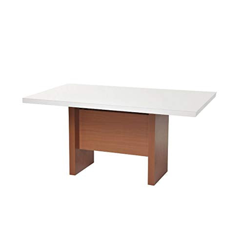 Contemporary Modern Rectangular Shaped Glass Top Dining Table (White Gloss)