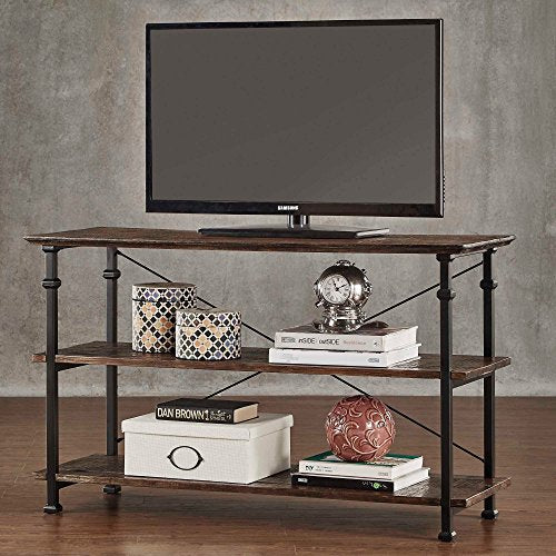 Modern Industrial Brown Rustic Wood and Metal TV Stand - for Televisions up to 48 inches