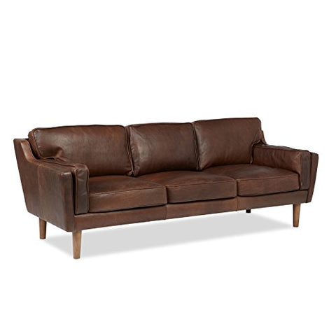 Modern Retro Pine Wood Leather Upholstery Sofa with Oak Stain Finish Legs