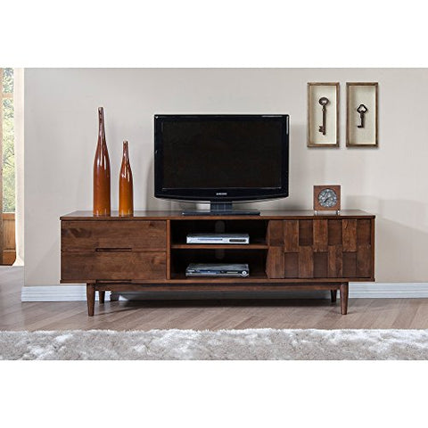 Mid Century Danish Style Wooden 70 in. Media Console TV Stand in Rich Medium Brown Finish with 2 Drawers