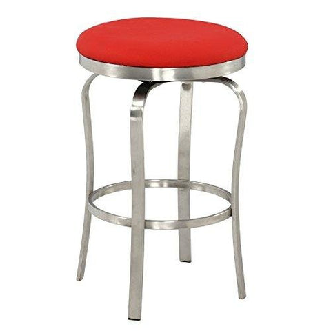 Tremendous Modern Metal Backless Red Upholstered Stainless Steel 26 Inch Counter Stool Creativecarmelina Interior Chair Design Creativecarmelinacom